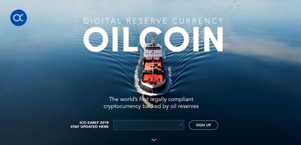 Page d'accueil du site internet oilcoin.io