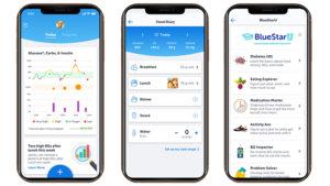 Captures-écran de l'application BlueStar de WellDoc pour lutter contre le diabète.